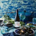 Poached Fennel Mussels with Chardonnay and Cream Served with Charcoal Ciabatta