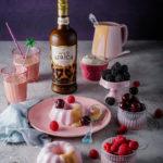 Wild Africa cream panna cotta with butterscotch sauce, espresso cream and seasonal berries