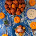 Pampoenkoekies with orange and thyme caramel sauce