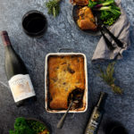 Venison Pie with red wine, cloves, juniper berries and a soft herbed crust