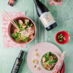Vietnamese Pho with chicken skilpadjies, glass noodles, coriander, chilli and mange tout