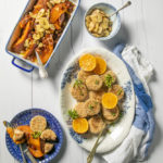 Montagu sesame crusted salmon fishcakes served with sticky sweet potatoes and banana chips