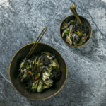 Montagu macadamia and fennel pesto cream served with squid ink pasta and mussels